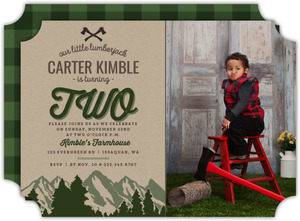 Evergreen Mountains Lumberjack Birthday Invitation