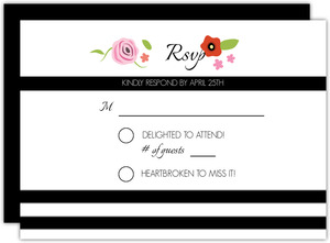 Bright Florals And Black Striped Response Card