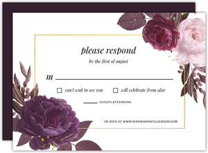 Burgundy Floral Geometric Frame Wedding Response Card