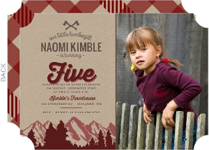 Evergreen Mountains Lumberjill Birthday Invitation