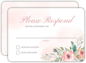 Blush Floral Arrangement Wedding Response Card