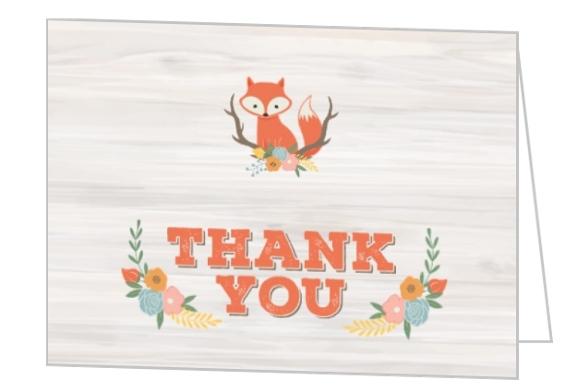 Cute Fox Woodland Baby Shower Thank You Card Baby Shower Thank You