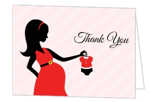 Pregnant Silhouette Santa Baby Shower Thank You Card