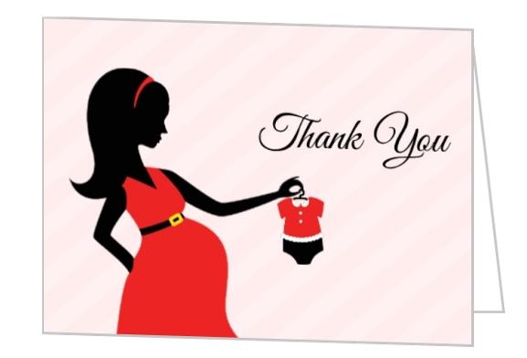 Pregnant silhouette santa baby shower thank you card baby shower pregnant silhouette santa baby shower thank you card filmwisefo