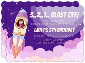 Pink Spaceship Birthday Party Invitation
