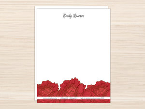 Red Flowers Letter Writing Paper