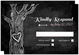 Pink Country Chalkboard Tree Wedding Response Card