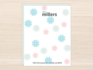 Colorful Winter Snowflakes Letter Writing Paper