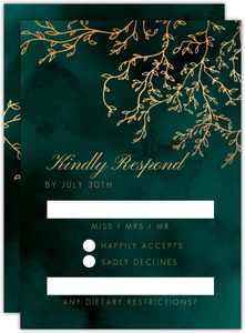 Gorgeous Emerald Watercolor Wedding Response Card