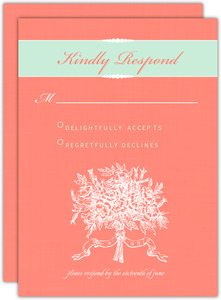 Coral And Mint Country Floral Response Card