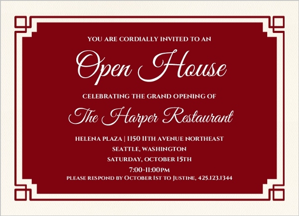 Fantastic Red Geometric Border Corporate Open House Invitation | Business  LK72