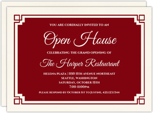 Red Geometric Border Corporate Open House Invitation