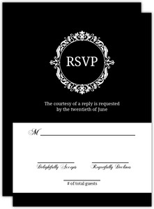 Black And White Elegant Monogram  Response Card
