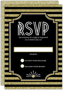 Roaring Glitter Gold Wedding Response Card