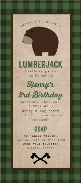 Green Flannel Bear Birthday Party Invitation