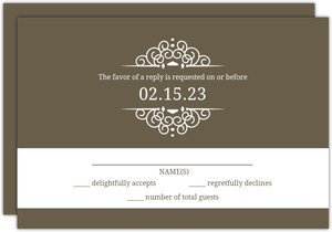 Olive And White Intricate Frame  Wedding RSVP Card