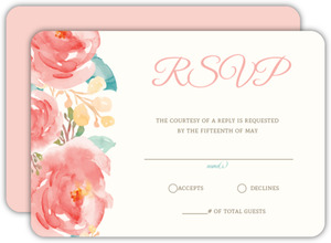 Pink Elegant Watercolor Flower Wedding Response Card