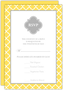 Yellow And Gray Pattern Wedding Response Card