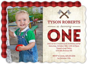 Lumberjack First Birthday Photo Party Invitation