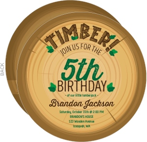 Timber Wood Log Lumberjack Birthday Invitation