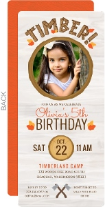 Fall Leaves Timber Lumberjill Birthday Invitation