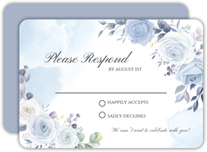 Periwinkle Floral Wedding Response Card