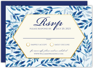 Elegant Blue Watercolor Foliage Response Card