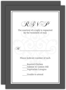Gray And Elegant White Flourish Response Card