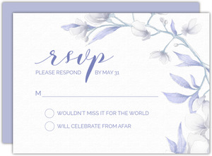White Lilies Purple Leaves Wedding Response Card