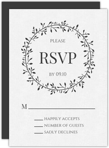 Skinny Wreath Initials Wedding Response Card