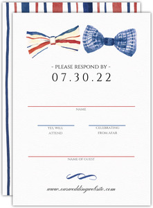 Stripped Watercolor Bow Tie Wedding Response Card