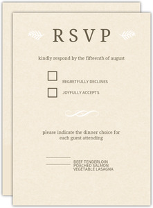 Brown And Cream Modern Wedding Response Card