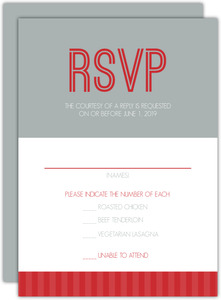 Red And Gray Journey  Wedding Response Card