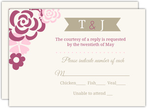 Pink Flowers Wedding Response Card