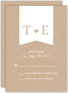 Kraft Heart  Wedding Response Card