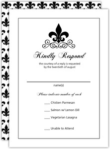 Black And White Fleur De Lis Wedding Response Card