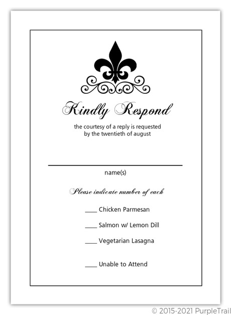 Black And White Fleur De Lis Wedding Response Card | Wedding ...