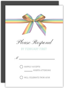 Rainbow Ribbon LGBT Wedding Response Card