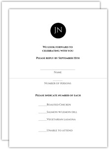 Black And White Monogram Response Card