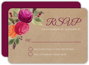 Rustic Kraft Watercolor Floral Wedding Response Card