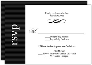 Black and White Elegant Swirl  Wedding Response Card