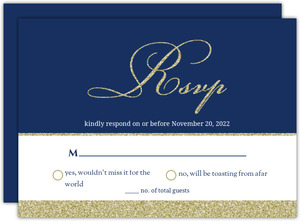 Navy And Gold Glitter Formal Wedding Response Card