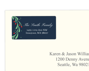 Whimsical Mistletoe Wreath Address Label