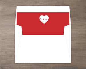 Red and White Heartbeat Nurse Grad Envelope Liner