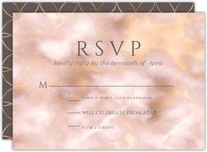 Elegant Blush and Gold Marble Wedding Response Card