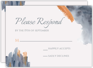Modern Grey Watercolor Wedding Response Card