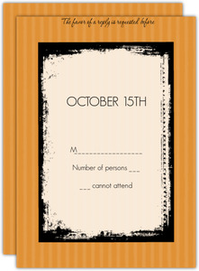 Orange and Lace  Halloween Wedding Response Card