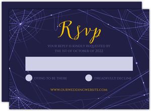 Purple Webs Halloween Wedding Response Card