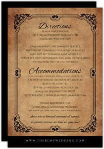 Rustic Elegant Black Halloween Wedding Enclosure Card