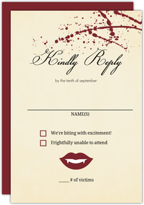 Rustic Love at First Bite Vampire  Halloween Wedding Response Card
